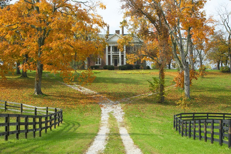 Southern home in historic horse country of Lexington Kentucky in autumn