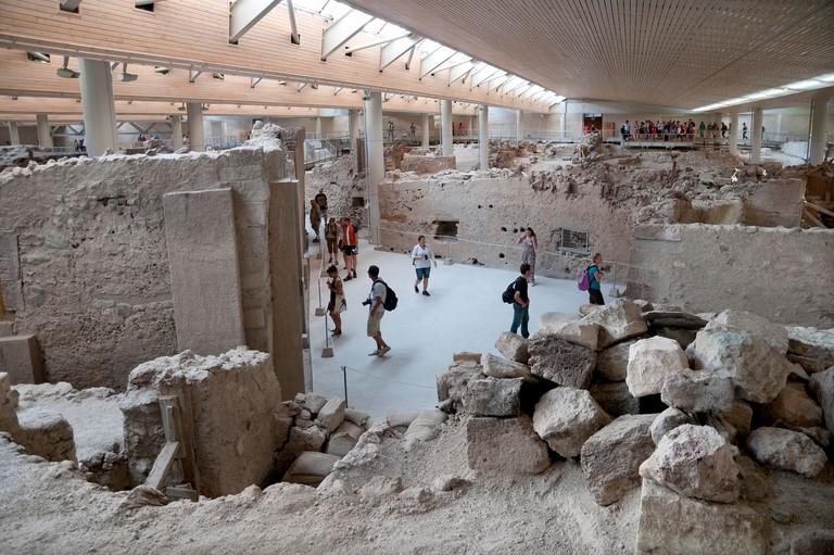 prehistoric city of akrotiri, santorini, greece
