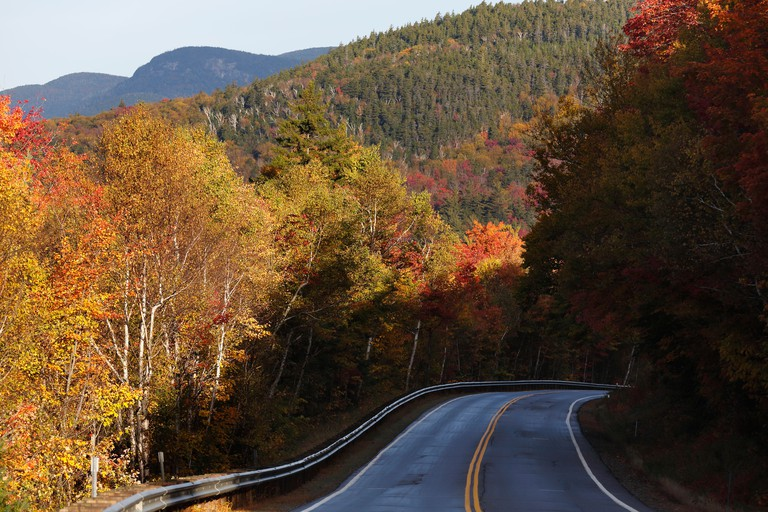Fall foliage on the Kancamagus Highway through the White Mountain National Forest, New Hampshire, USA