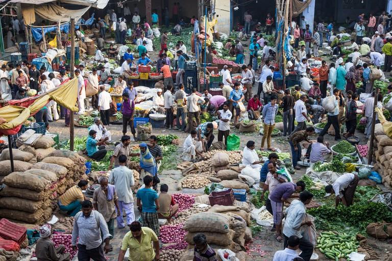 Vegetable market in Old Delhi, India