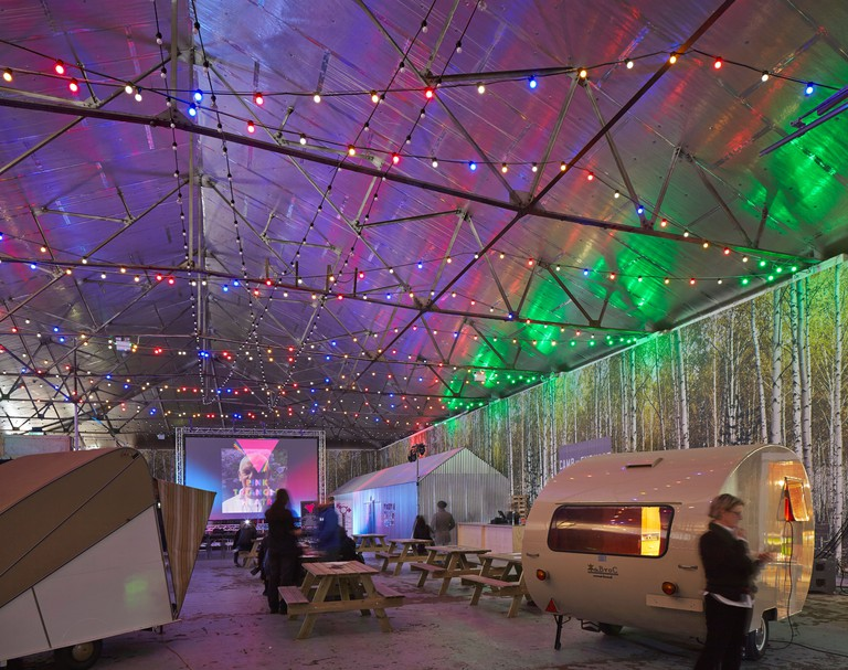 Camp and Furnace, Liverpool, United Kingdom. Architect: FWMA+ & Smiling Wolf, 2012. Multifunctional event hall set up for film s