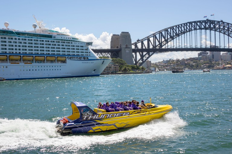 Australia, NSW, New South Wales, Sydney, Sydney Harbour Bridge, harbor, East Circular Quay, cruise ship, port, water, Thunder Jet, boat, ride, excursi