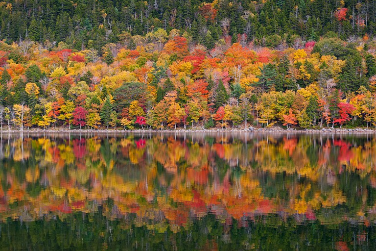Autumn foliage at Jordan Pond in Acadia National Park, Mount Desert Island, Maine
