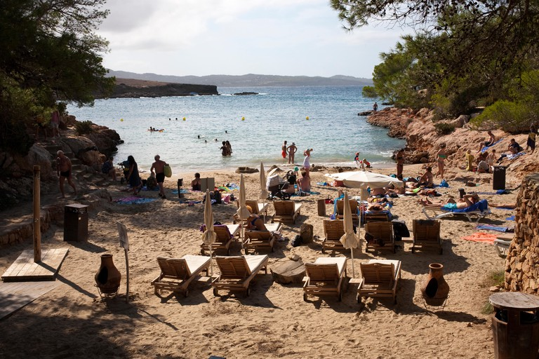 view of cala gracioneta beach from the restaurant of cala gracioneta el chiringuito