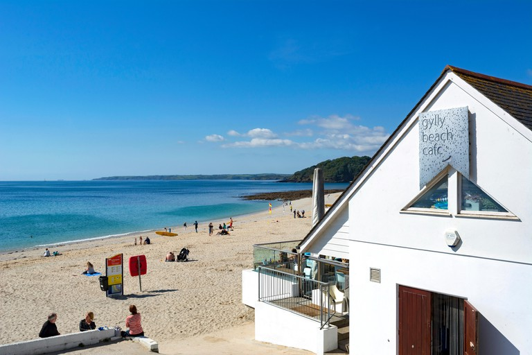 Cafe on Gyllyngvase beach in Falmouth, Cornwall, UK