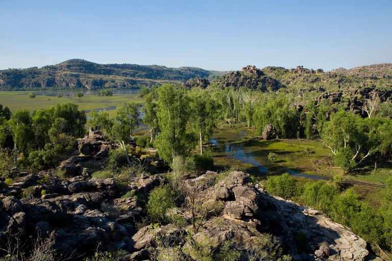 View of floodlands from a view point in Arnhem Land, a country belonging to aboriginal people, Arnhem Land, Northern Territory,