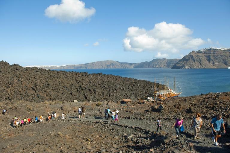 Greece, the Cyclades, Santorini, volcano island Nea Kameni,