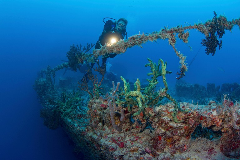 Diving the shipwreck of the Spiegel Grove on the occasion of the 10th anniversary of its sinking as an artificial reef. Image shot 2012. Exact date unknown.