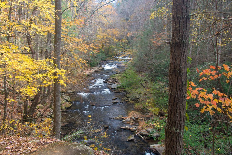 Usa, Tennessee, Tellico Plains. Classic fall Appalachian Mountain stream with cascades. Cherokee National Forest Bald River gorge