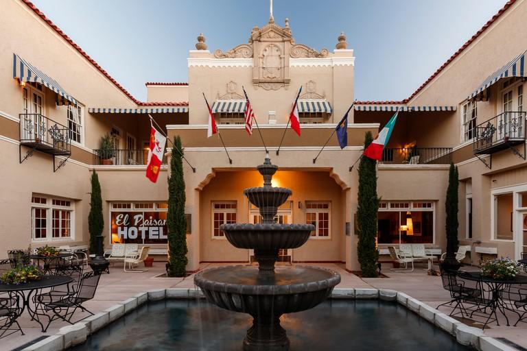 Courtyard, historic Hotel Paisano (1930), Marfa, Texas USA