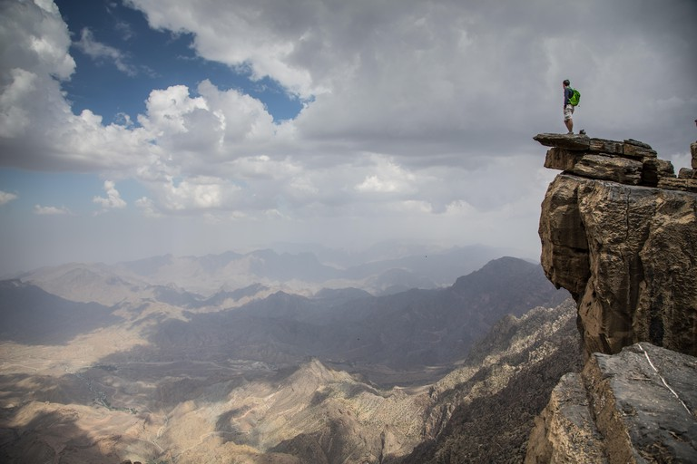 Hikers in the the mountains in Oman, near Jebel Shams, the highest top in Middle East. Image shot 08/2015. Exact date unknown.