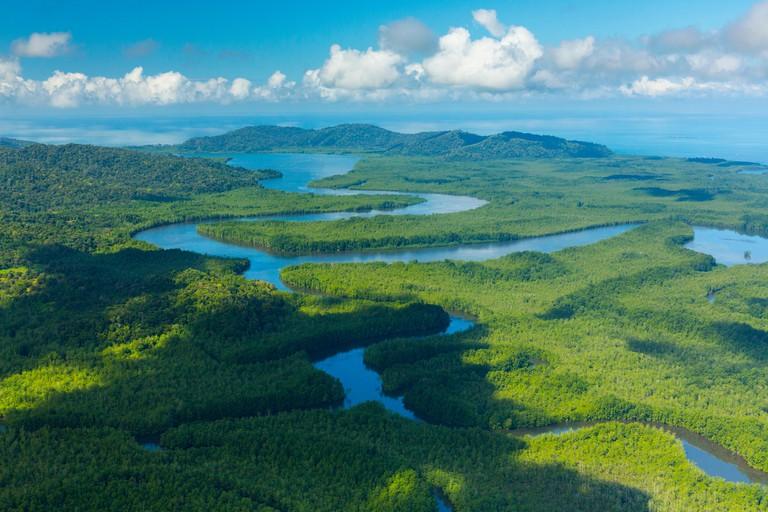 Aerial view of Delta Sierpe River Terraba, Corcovado National Park, Osa Peninsula, Puntarenas Province, Costa Rica. December 2014.
