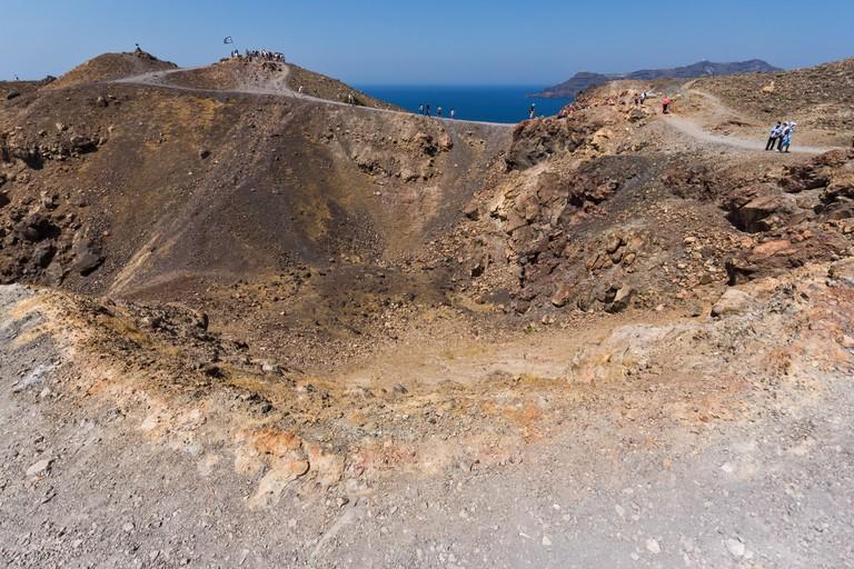 Amazing panorama of volcano in Nea Kameni island near Santorini, Cyclades, Greece