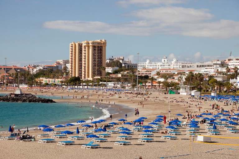 Beach and hotels, Los Cristianos, Tenerife, Canary Islands, Spain