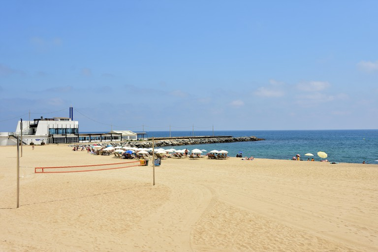 Mar Bella beach and Barcelona Club Beach, Barcelona, Catalonia, Spain