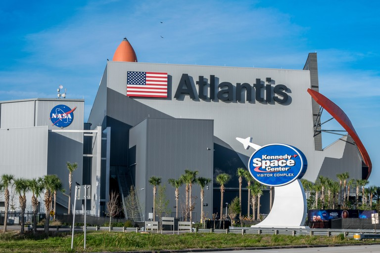 Cape Canaveral, Florida, USA - March 30, 2018: Kennedy Space Center Visitors Complex offers tours, exhibits, and historical displays.