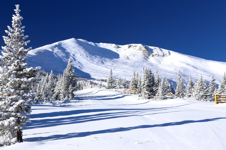View of the snow covered Colorado Rocky Mountains from Breckenridge Ski Resort