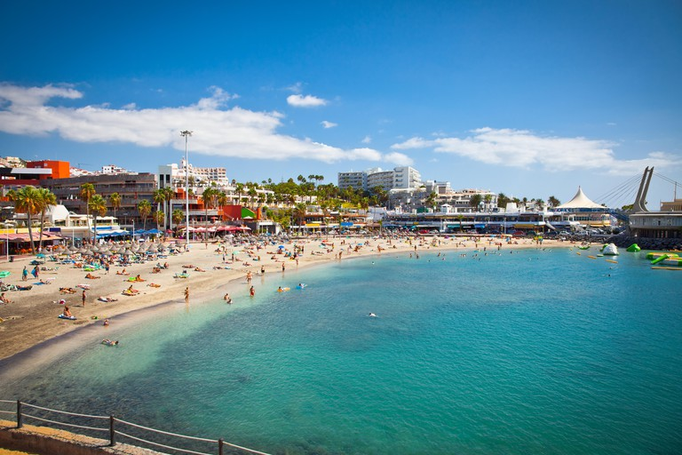 Beautiful send beach in Costa Adeje Playa de las Americas on Tenerife, Spain.