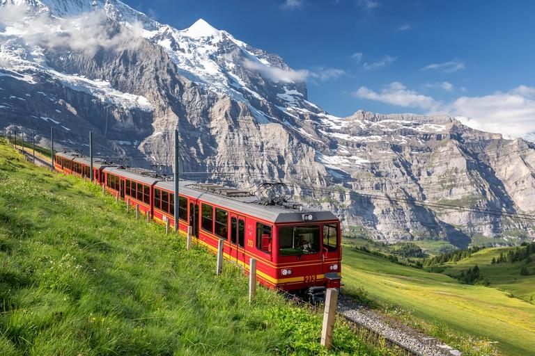 Train from the Jungfrau railway near Kleine Scheidegg, Bernese Oberland, Switzerland