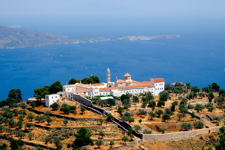 Profitis Ilias monastery is a popular hiking destination on the greek island of Hydra. Also reachable by donkey, it is close to the peak of Mount Eros