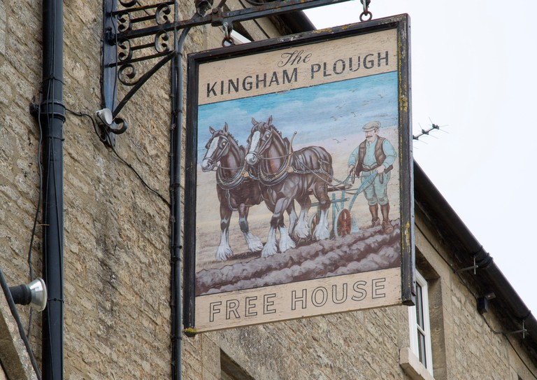 Kingham Plough Pub Sign; Cotswolds; England; UK