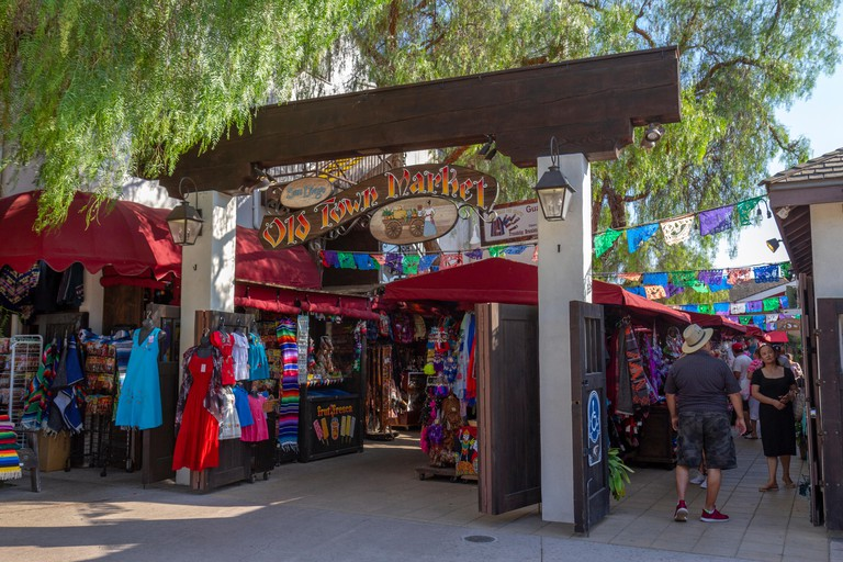 Entrance to the Old Town Market, Old Town San Diego State Historic Park, San Diego, California, United States.