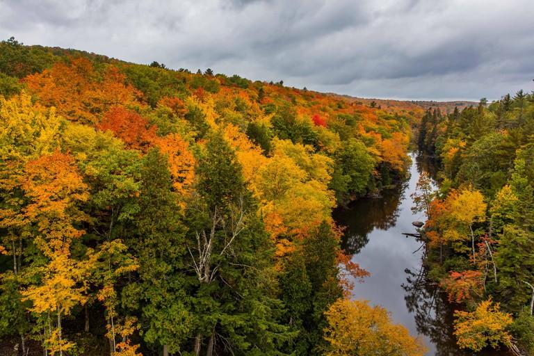 Autumn color along the Dead River near Marquette, Michigan USA