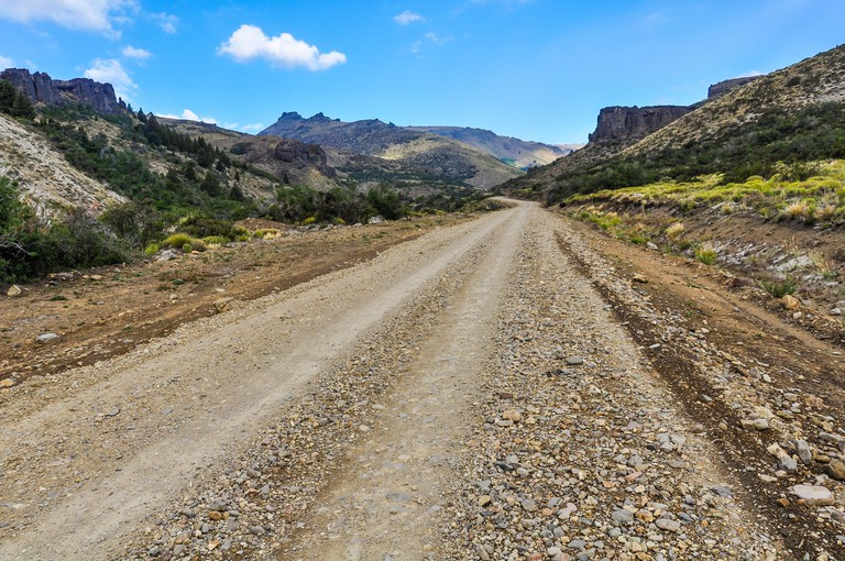 Dirt track on the Road of the Seven Lakes, Patagonia, Argentina.