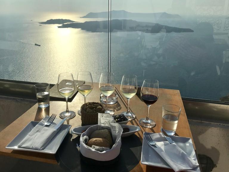 Wine tasting at santo wines winery Santorini