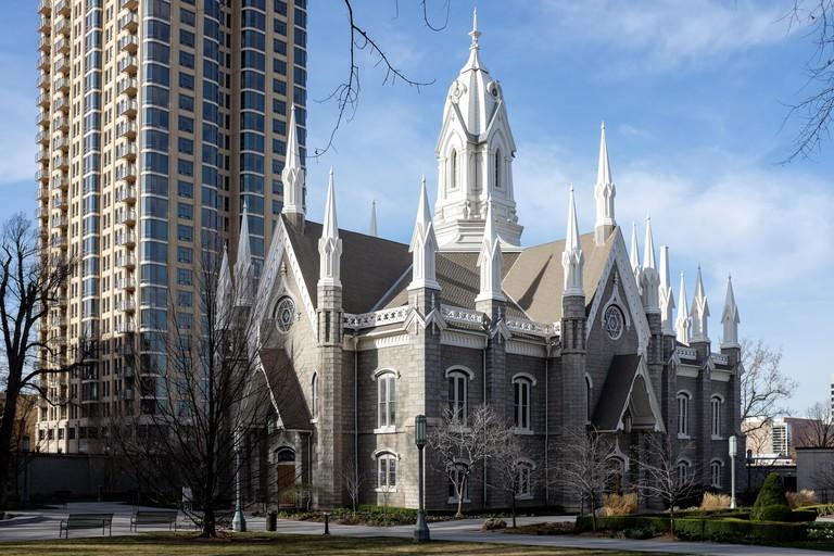 Salt Lake Assembly Hall on Temple Square in Salt Lake City, Utah, USA