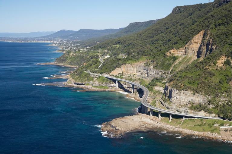 Sea Cliff Bridge near Wollongong south of Sydney New South Wales Australia aerial