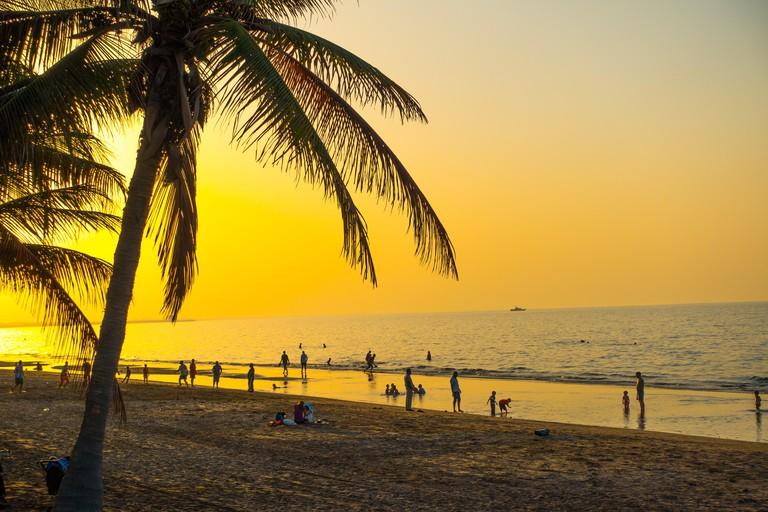 Shatti Al Qurum Beach, Muscat, Oman at sunset