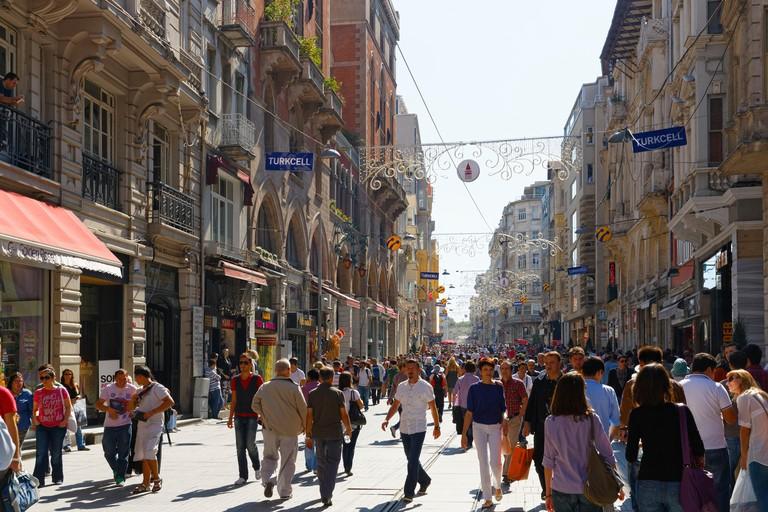 Istiklal Street or Istiklal Caddesi, Beyoglu, Istanbul, European side, Istanbul Province, Turkey, European side
