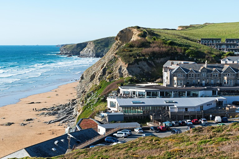 the watergate bay hotel overlooking the beach at watergate bay cornwall england uk
