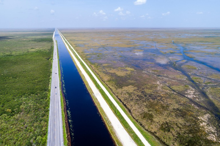 Florida, Miami, Everglades National Park, Tamiami Trail US route 41 highway, canal, levee dike, water conservation area 3A, Francis S. Taylor Wildlife
