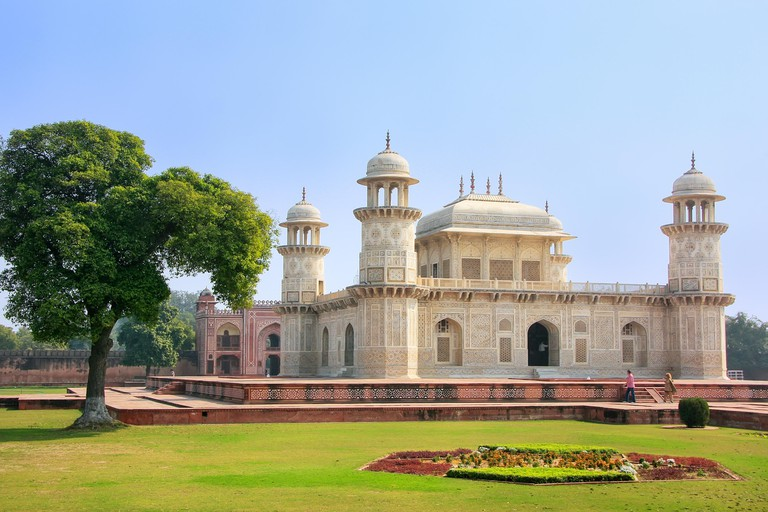 Tomb of Itimad-ud-Daulah in Agra, Uttar Pradesh, India. This Tomb is often regarded as a draft of the Taj Mahal.