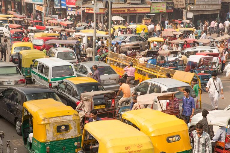 Traffic, Delhi, Asia, town, city, market, cars, automobiles, many, traffic jam