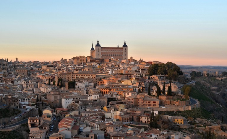 Toledo sunset city view of the Alcazar from Mirador del Valle in Spain