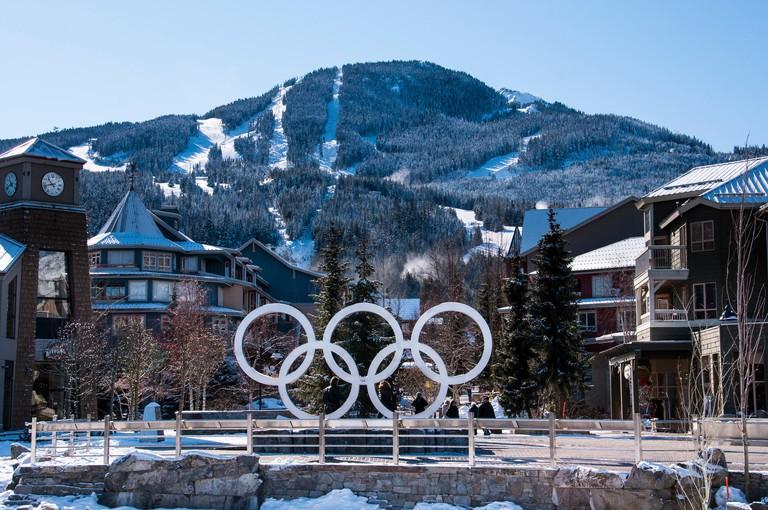 Olympic rings, Whistler Olympic Plaza, Whistler Village, Whistler Blackcomb Ski Resort, Whistler, British Columbia, Canada.