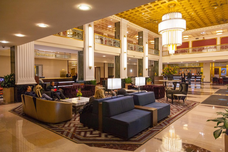 Entrance Lobby reception area at the Wyndham New Yorker Hotel, 8th Avenue, New York City, United States of America.