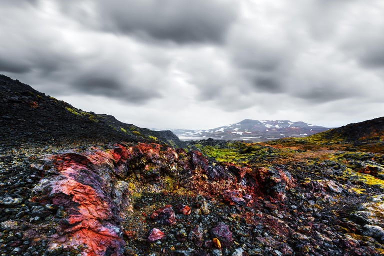 Frozen lavas field in the geothermal valley Leirhnjukur, near Krafla volcano, Iceland, Europe. Landscape photography