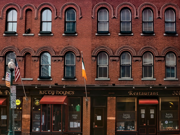 Syracuse, New York, USA. August 10, 2020. View of Kitty Hoynes, Irish Pub and Restaurant, a local landmark , in Armory Square, downtown Syracuse