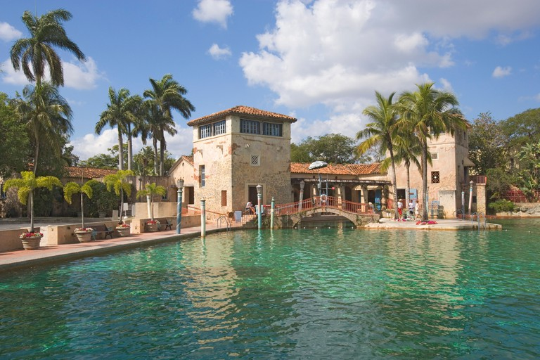 View at a deserted swimming pool in the sunlight, Venetian Pool, Miami, Florida, USA