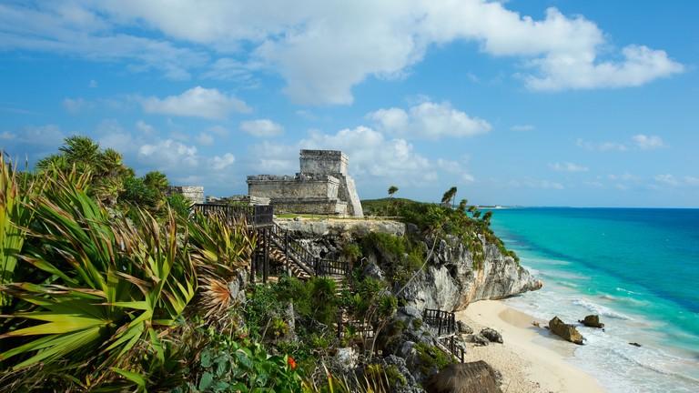 Mexico, Tulum, archeological and ancient Maya site of Tulum, caribbean sea, Tulum beach