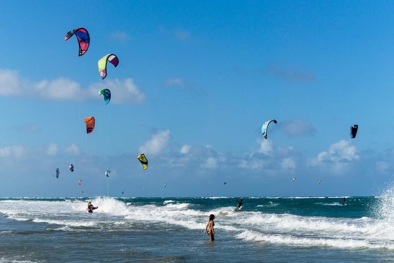 Kiteboarder , Cabarete beach, North Coast, Dominican Republic