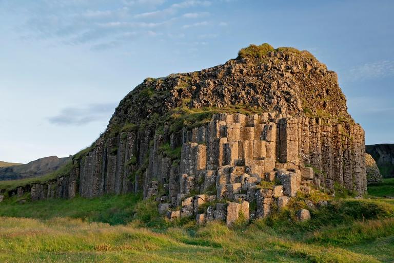 Columnar basalt outrcop, Dverghamrar (Dwarf Cliffs), near Foss, Iceland