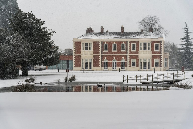 The Doubletree Hilton hotel near Chester in a snowfall.
