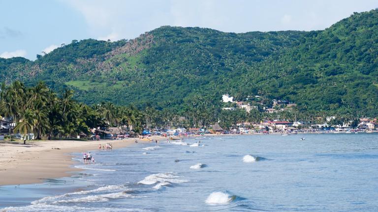 The beach of Rincon de Guayabitos in Jaltemba Bay, Nayarit, Mexico