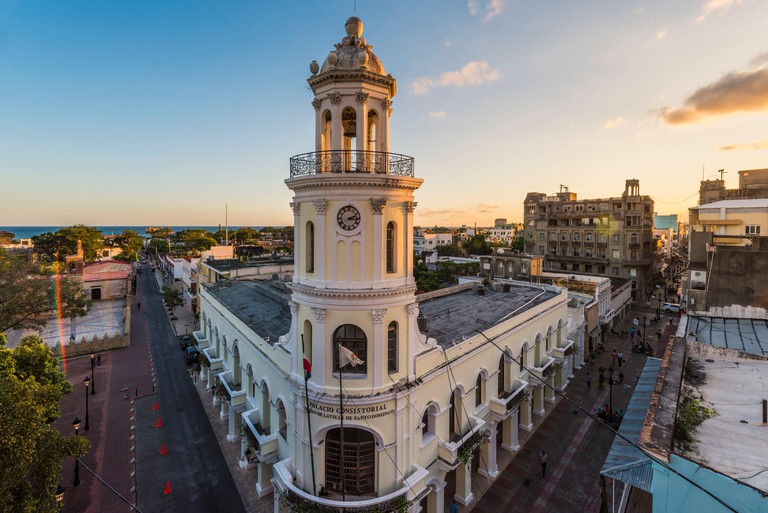 Colonial Zone (Ciudad Colonial), Santo Domingo, Dominican Republic. The Colonial architectures of the Palacio Consistorial.