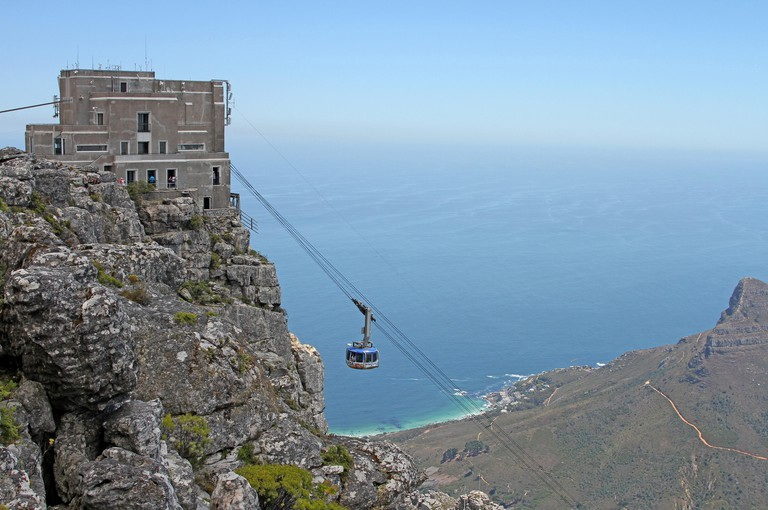 View of the Table Mountain Upper Cable Car Station on from Table Mountain top, Cape Town, Western Cape, South Africa.